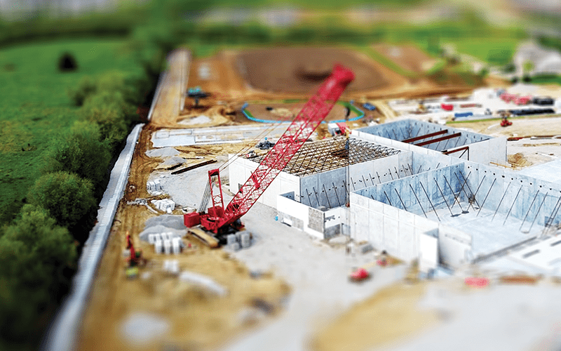 mini construction site with crane