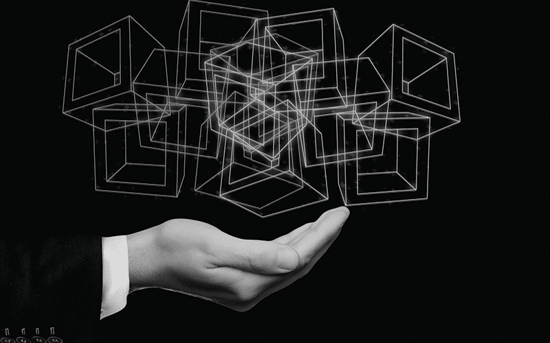 man hand with boxes sketched floating above